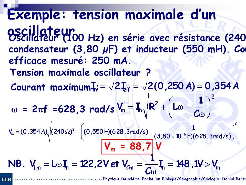 Exemple: tension maximale d'un oscillateur