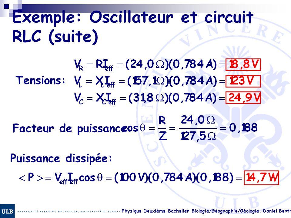 Exemple: Oscillateur et circuit RLC (suite)