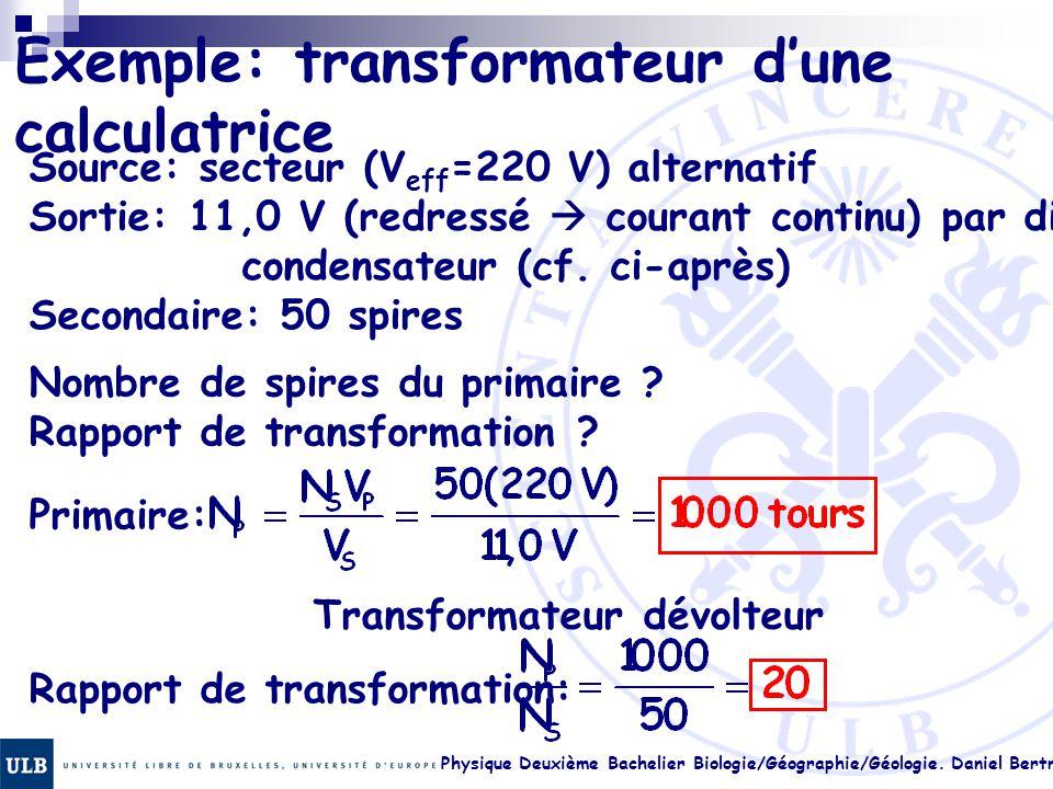 Exemple: transformateur d'une calculatrice