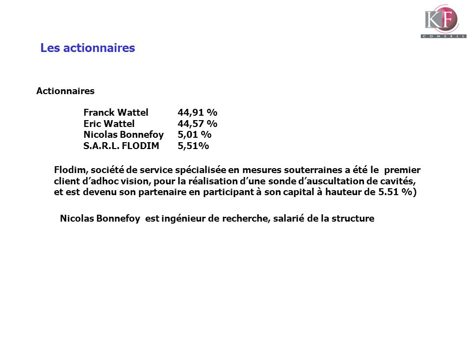 Les actionnaires Actionnaires Franck Wattel 44,91 %