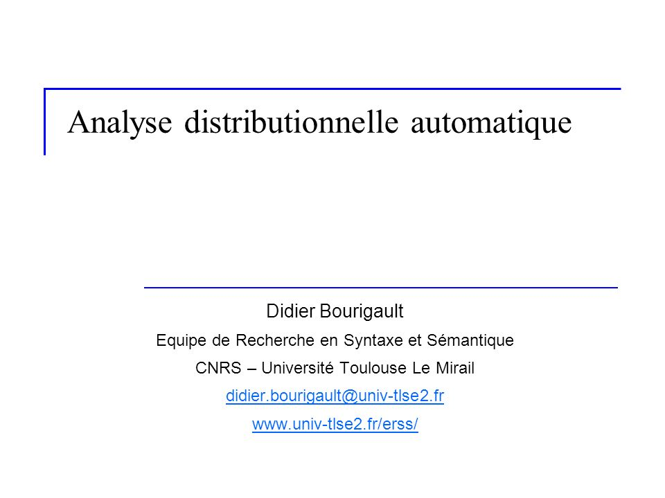 Analyse distributionnelle automatique