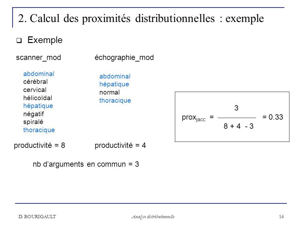 2. Calcul des proximités distributionnelles : exemple