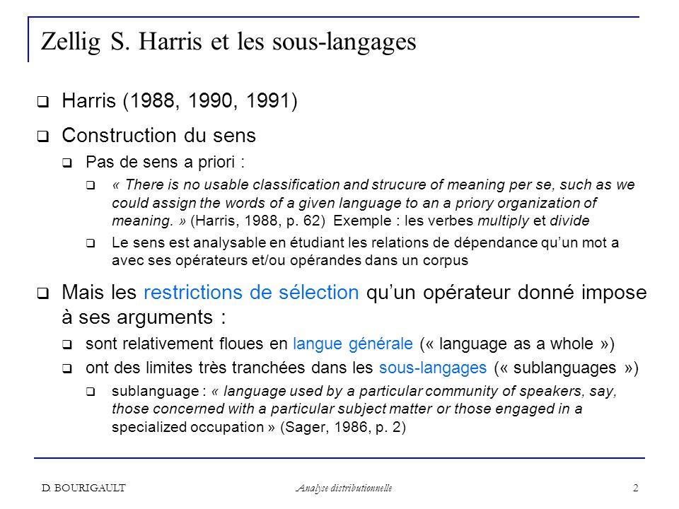 Zellig S. Harris et les sous-langages