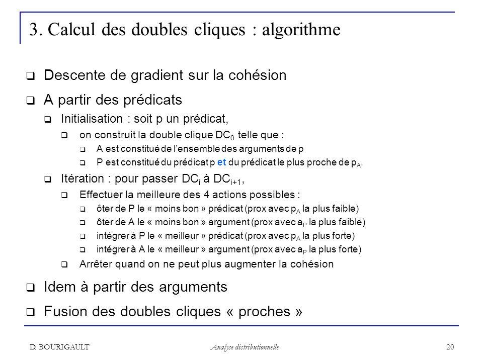 3. Calcul des doubles cliques : algorithme