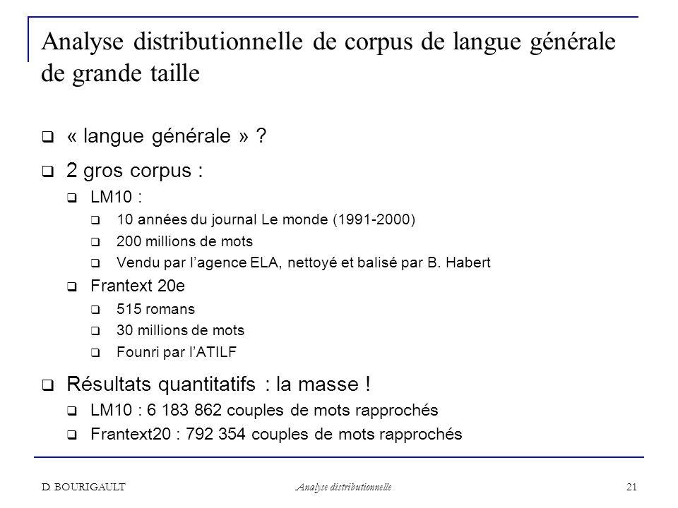 Analyse distributionnelle de corpus de langue générale de grande taille