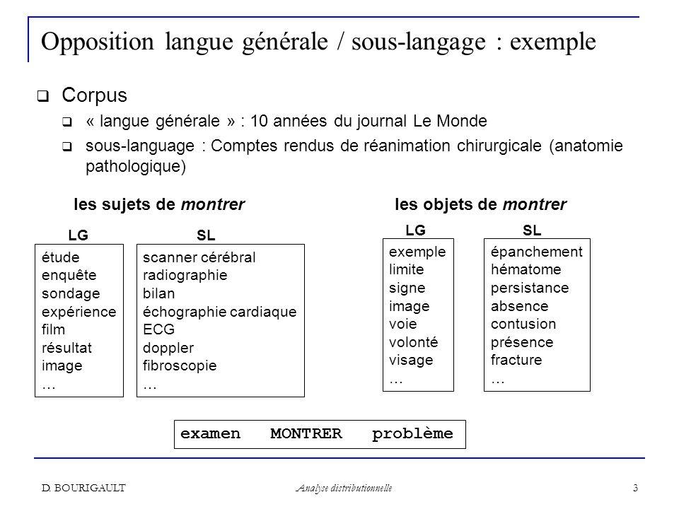 Opposition langue générale / sous-langage : exemple