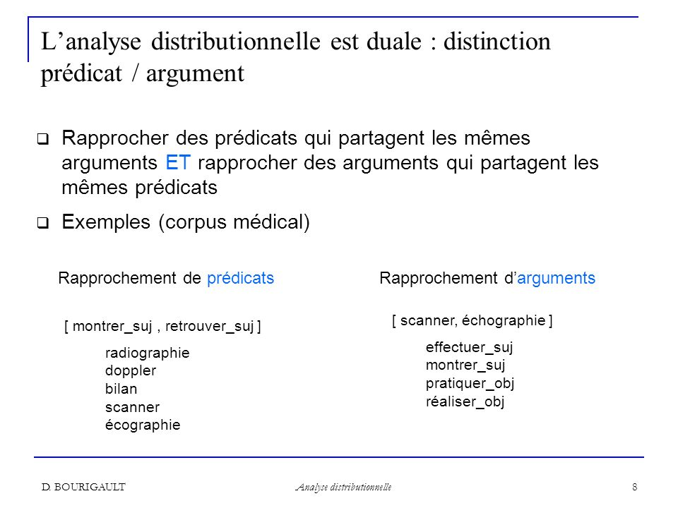 L'analyse distributionnelle est duale : distinction prédicat / argument