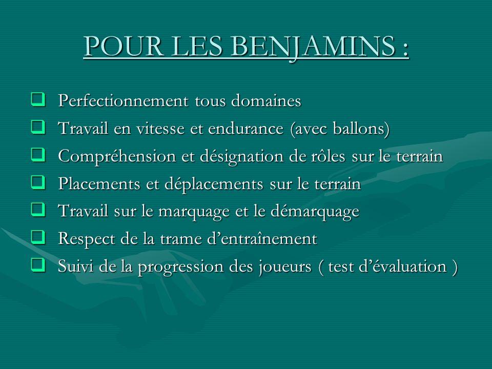 POUR LES BENJAMINS : Perfectionnement tous domaines