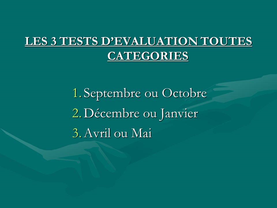 LES 3 TESTS D'EVALUATION TOUTES CATEGORIES