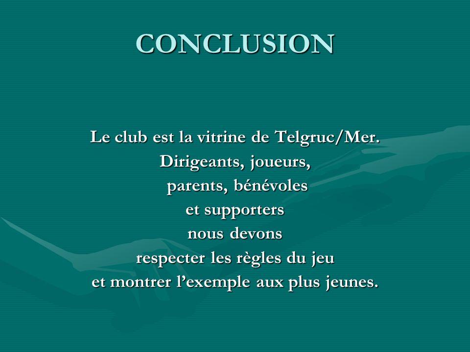 CONCLUSION Le club est la vitrine de Telgruc/Mer. Dirigeants, joueurs,