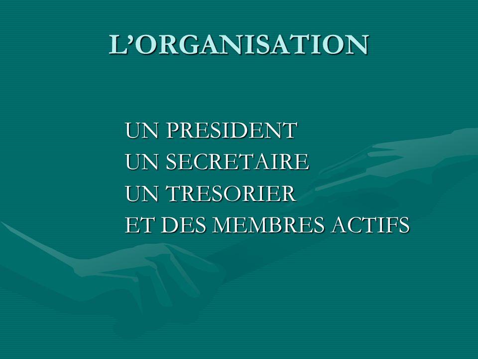 L'ORGANISATION UN PRESIDENT UN SECRETAIRE UN TRESORIER