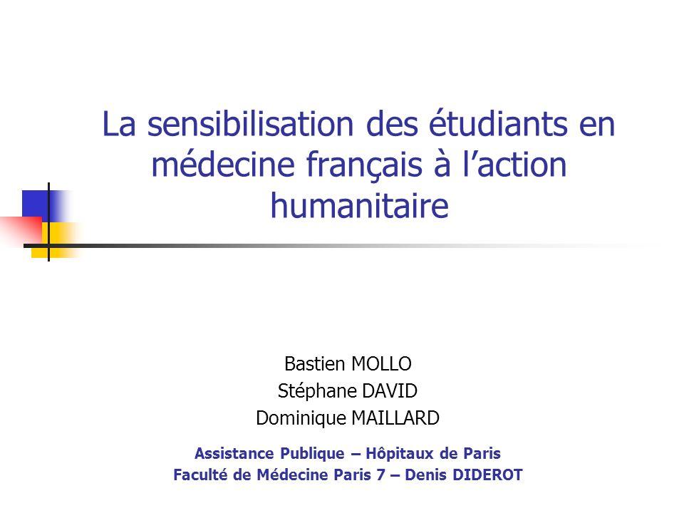 La sensibilisation des étudiants en médecine français à l'action humanitaire