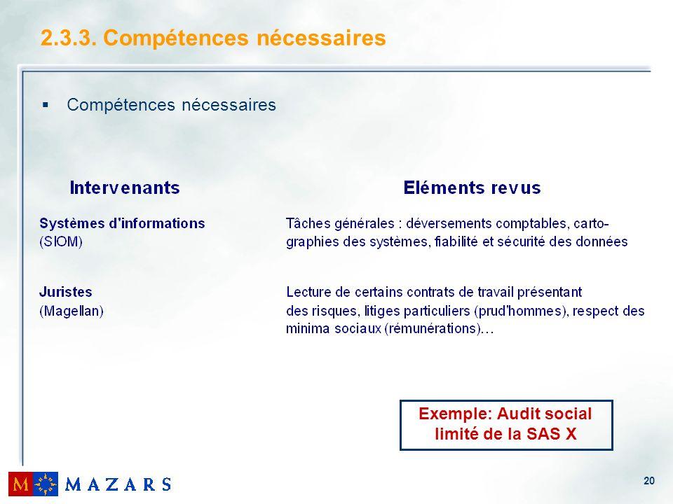 2.3.3. Compétences nécessaires