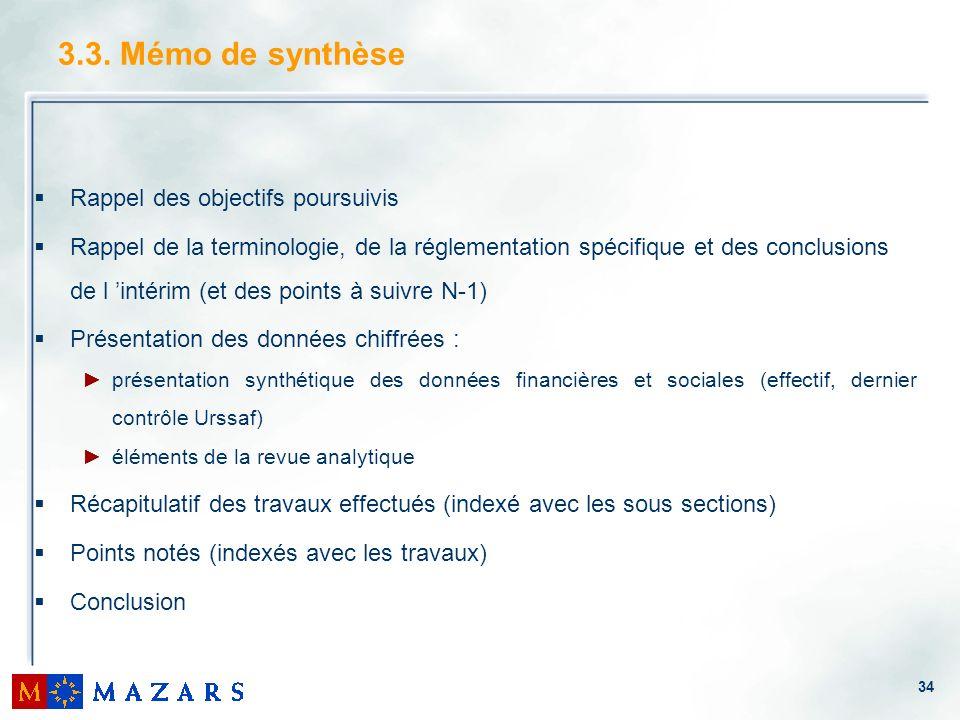 3.3. Mémo de synthèse Rappel des objectifs poursuivis
