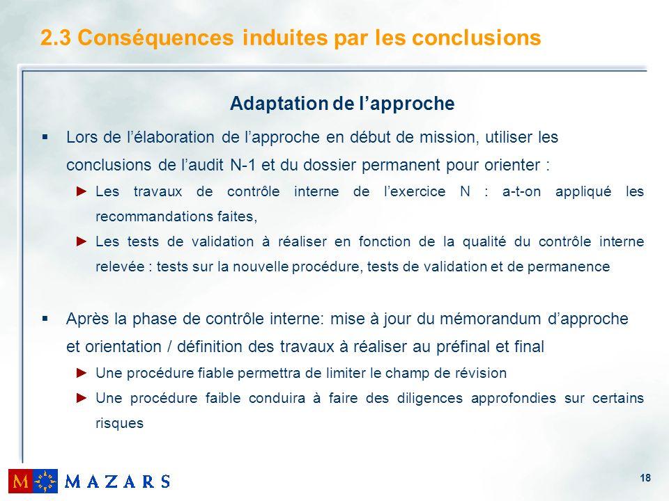 2.3 Conséquences induites par les conclusions