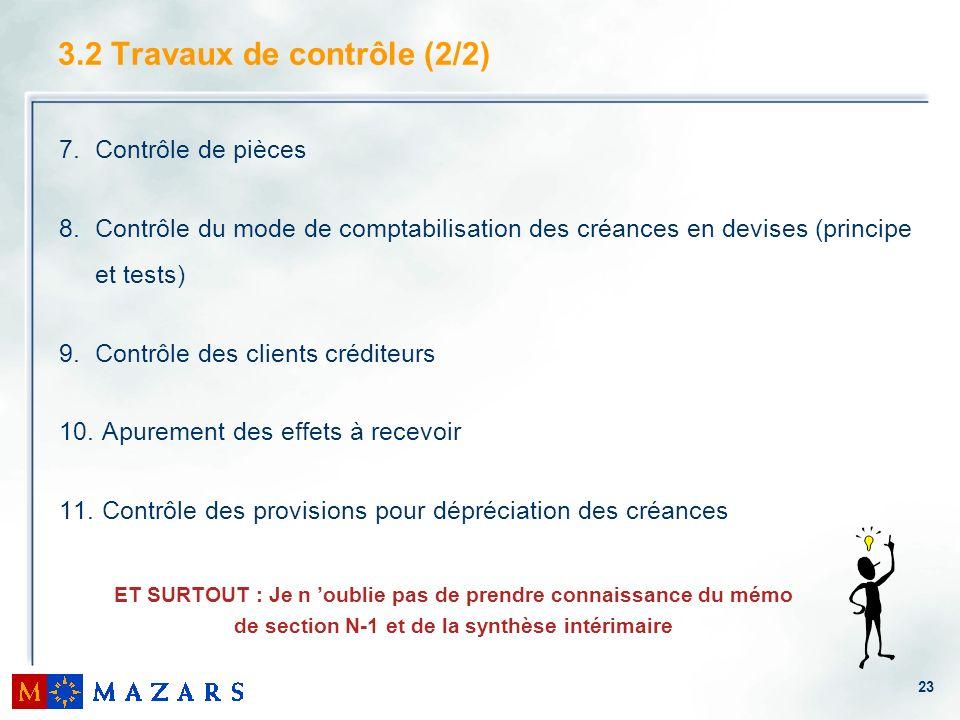 3.2 Travaux de contrôle (2/2)