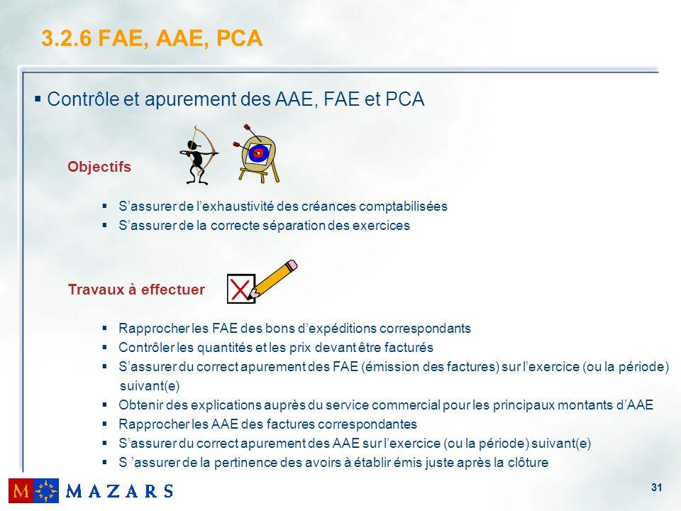 3.2.6 FAE, AAE, PCA Contrôle et apurement des AAE, FAE et PCA