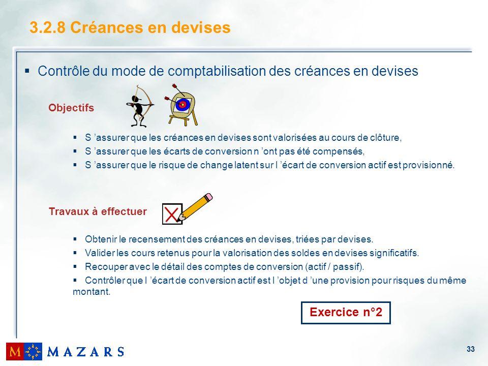 3.2.8 Créances en devises Contrôle du mode de comptabilisation des créances en devises. Objectifs.