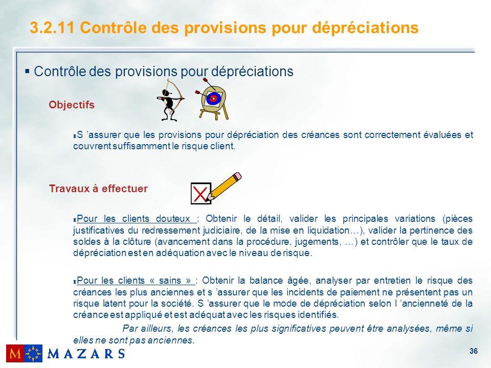 3.2.11 Contrôle des provisions pour dépréciations