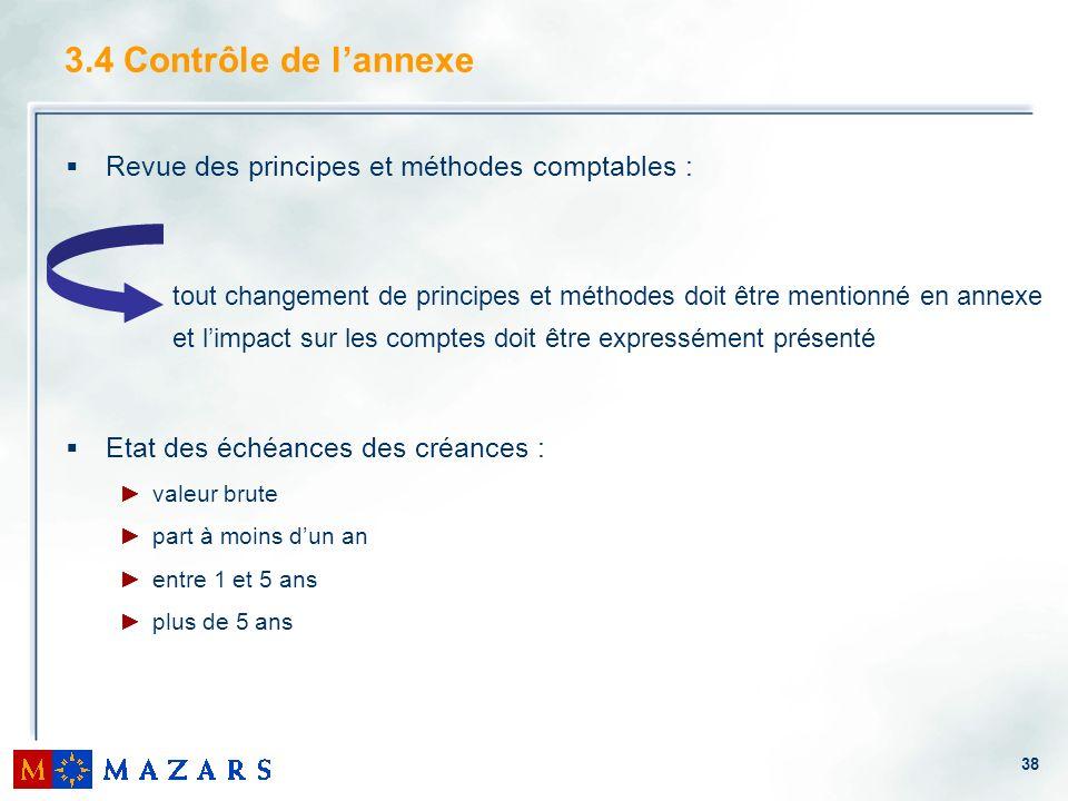 3.4 Contrôle de l'annexe Revue des principes et méthodes comptables :