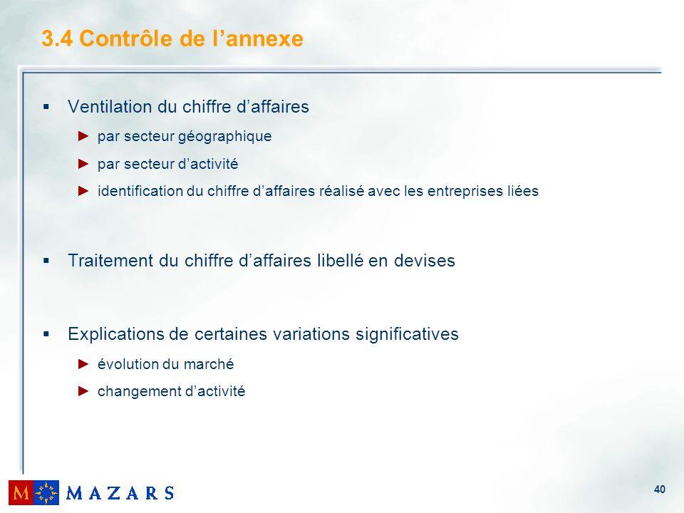 3.4 Contrôle de l'annexe Ventilation du chiffre d'affaires