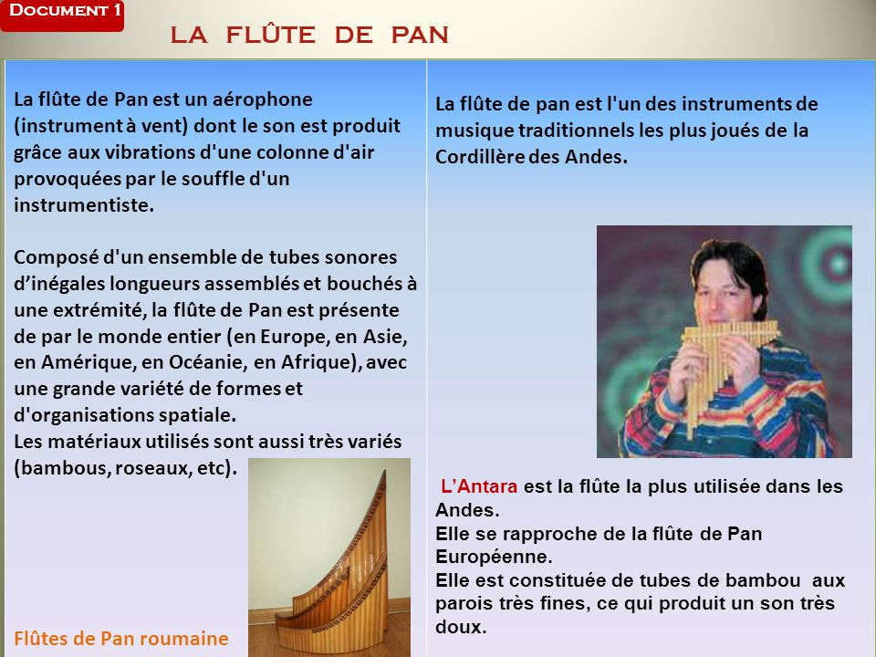 Document 1 LA FLÛTE DE PAN
