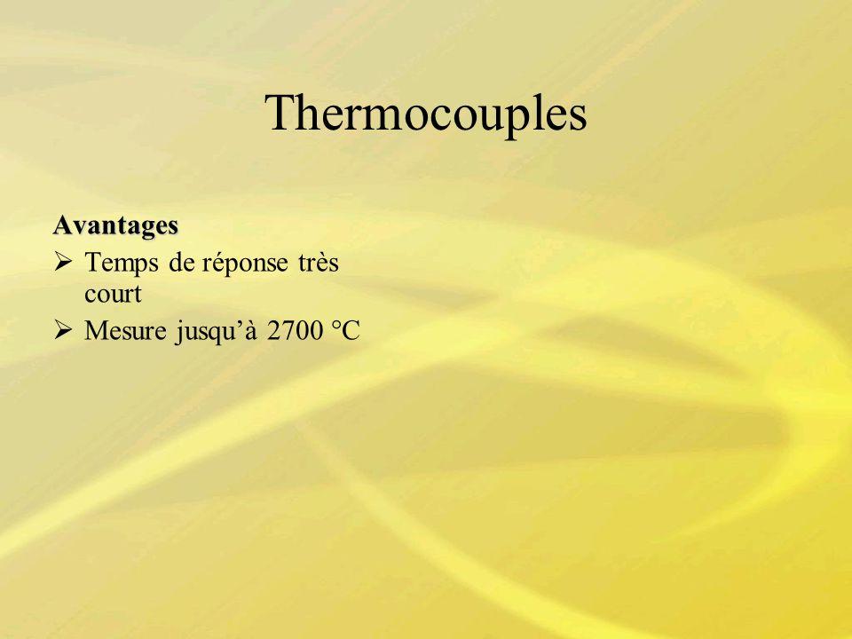 Thermocouples Avantages Temps de réponse très court