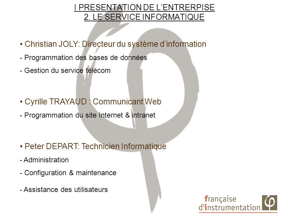 I PRESENTATION DE L'ENTRERPISE 2. LE SERVICE INFORMATIQUE