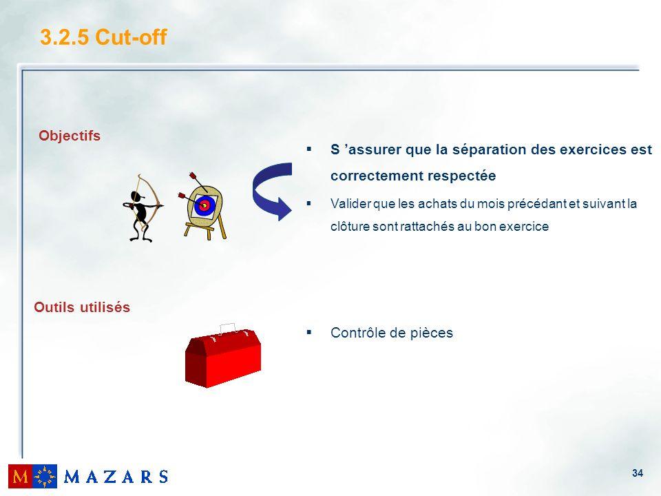 3.2.5 Cut-offS 'assurer que la séparation des exercices est correctement respectée.