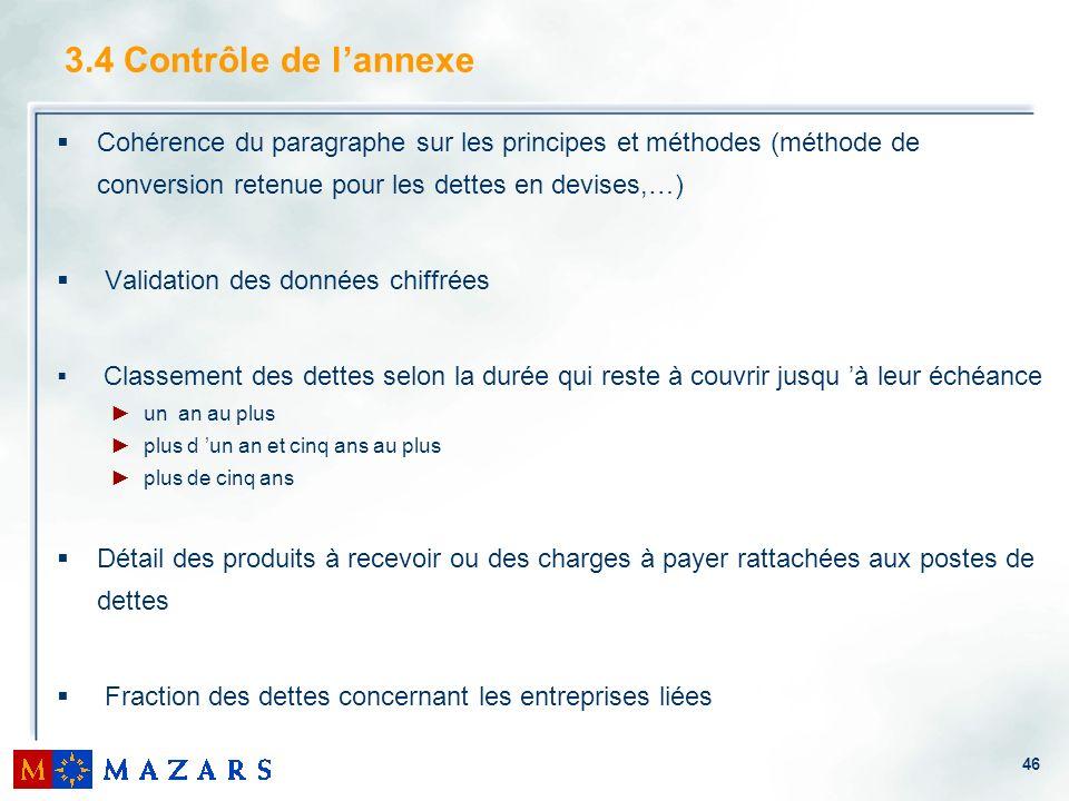 3.4 Contrôle de l'annexeCohérence du paragraphe sur les principes et méthodes (méthode de conversion retenue pour les dettes en devises,…)