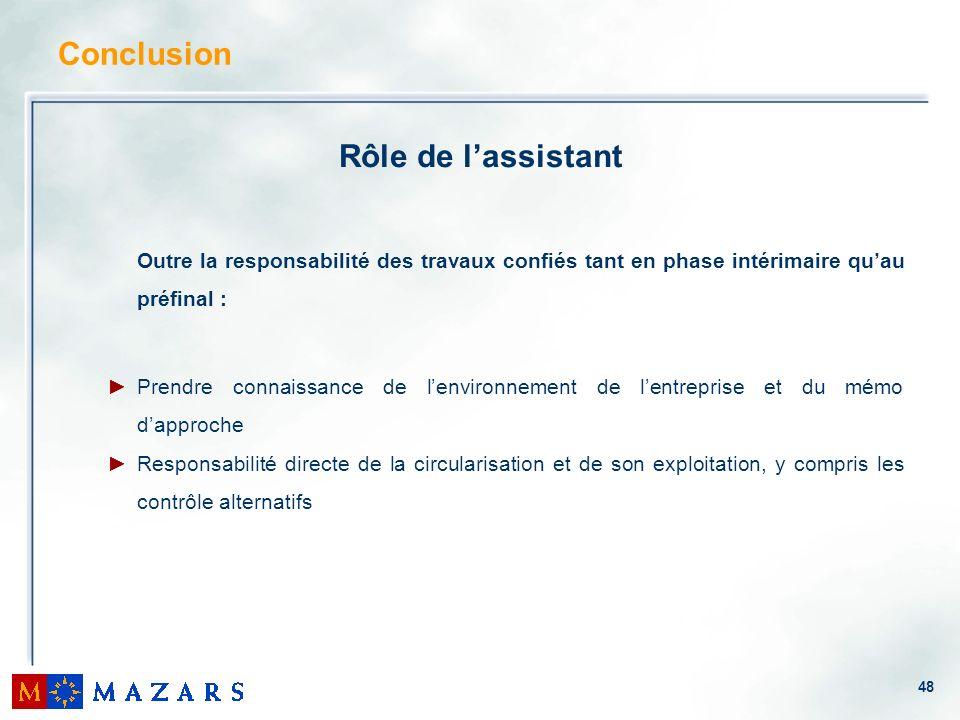 Conclusion Rôle de l'assistant