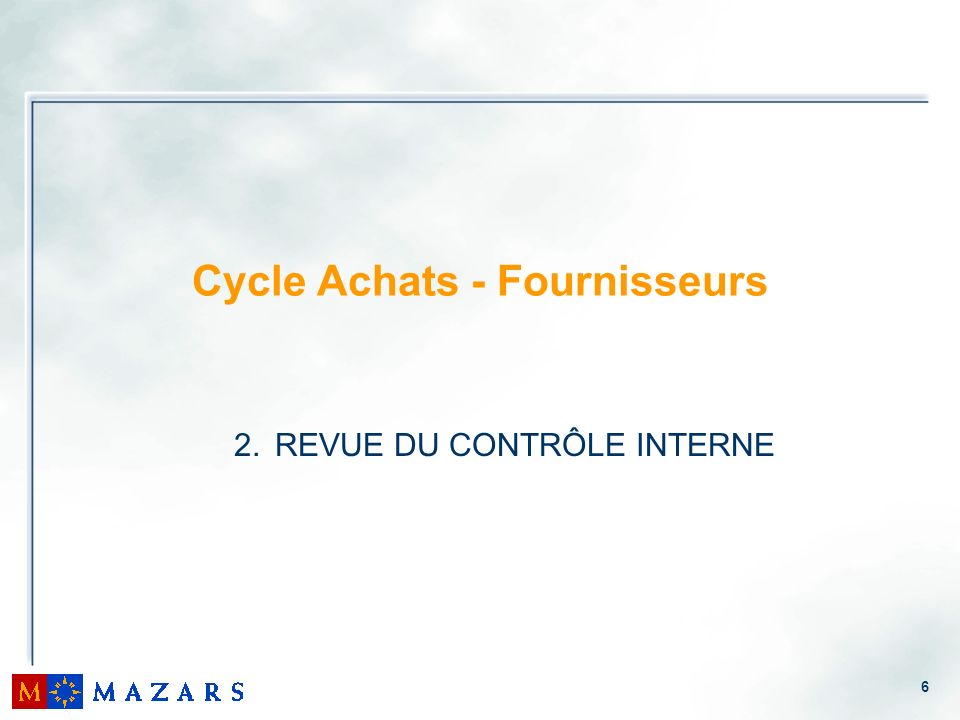 Cycle Achats - Fournisseurs