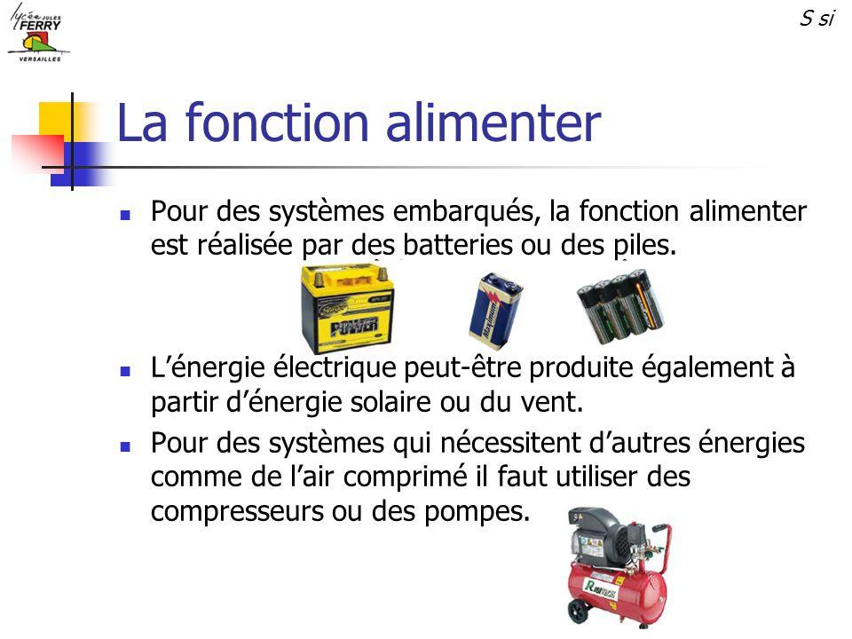 S si La fonction alimenter. Pour des systèmes embarqués, la fonction alimenter est réalisée par des batteries ou des piles.