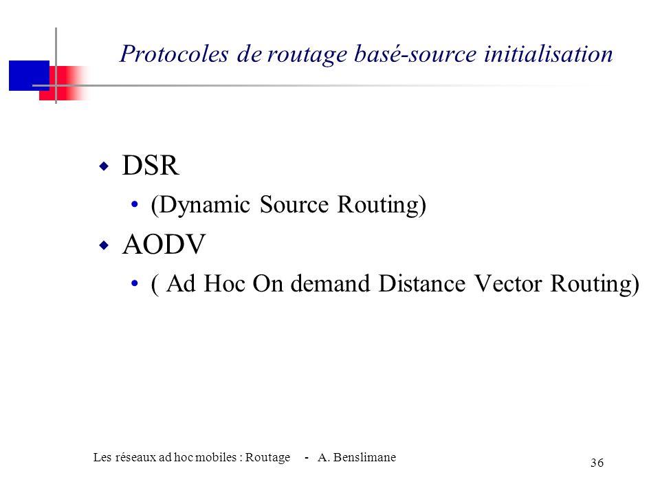 Protocoles de routage basé-source initialisation