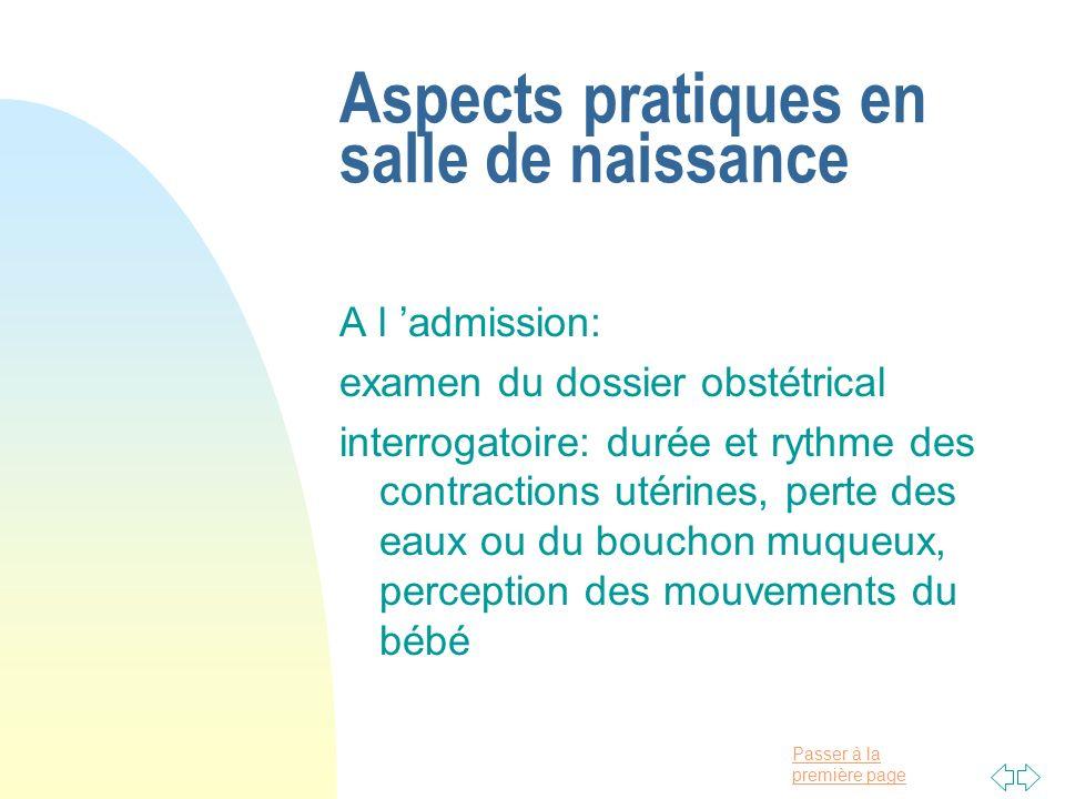 Aspects pratiques en salle de naissance