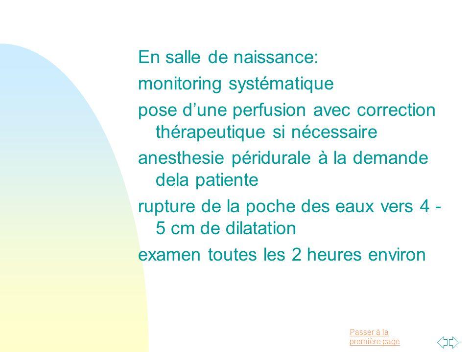 En salle de naissance: monitoring systématique. pose d'une perfusion avec correction thérapeutique si nécessaire.