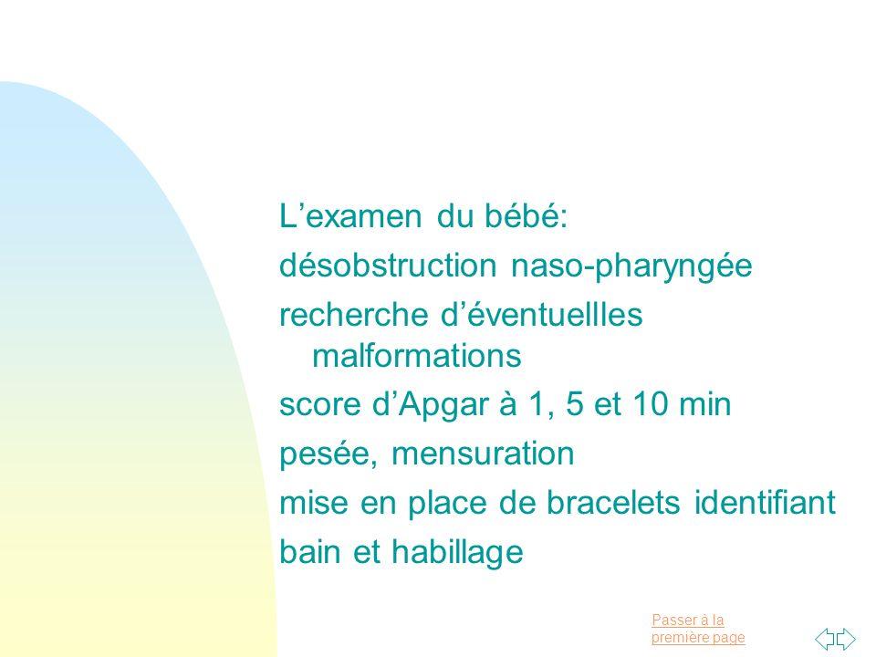 L'examen du bébé:désobstruction naso-pharyngée. recherche d'éventuellles malformations. score d'Apgar à 1, 5 et 10 min.