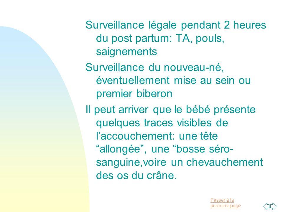 Surveillance légale pendant 2 heures du post partum: TA, pouls, saignements