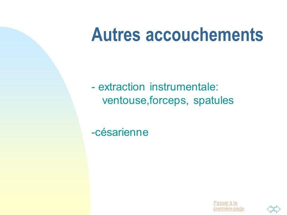 Autres accouchements - extraction instrumentale: ventouse,forceps, spatules -césarienne