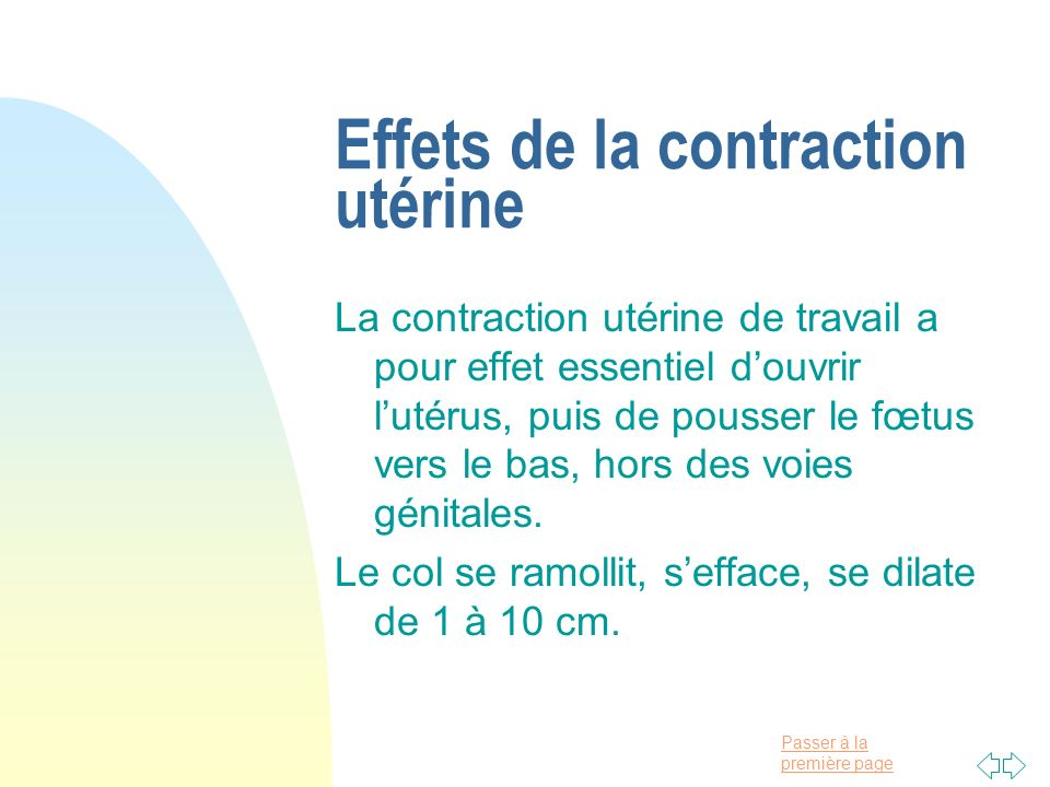 Effets de la contraction utérine