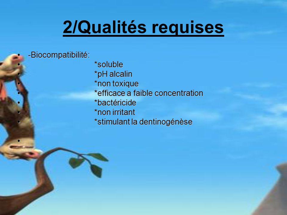 2/Qualités requises -Biocompatibilité: *soluble *pH alcalin
