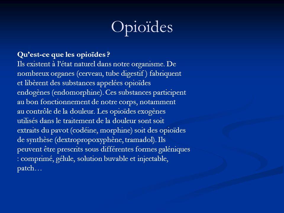 Opioïdes Qu'est-ce que les opioïdes