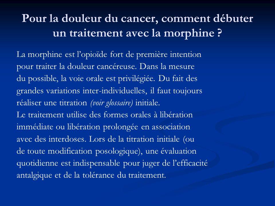Pour la douleur du cancer, comment débuter un traitement avec la morphine