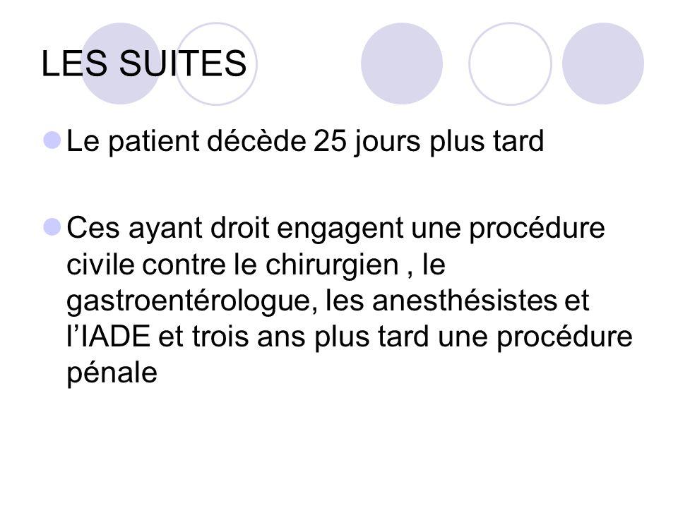 LES SUITES Le patient décède 25 jours plus tard