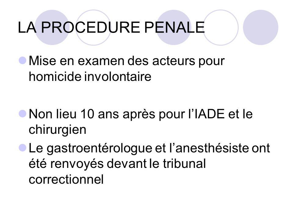 LA PROCEDURE PENALE Mise en examen des acteurs pour homicide involontaire. Non lieu 10 ans après pour l'IADE et le chirurgien.