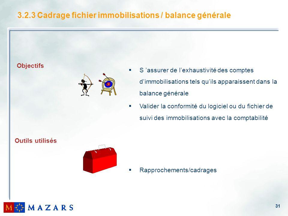 3.2.3 Cadrage fichier immobilisations / balance générale