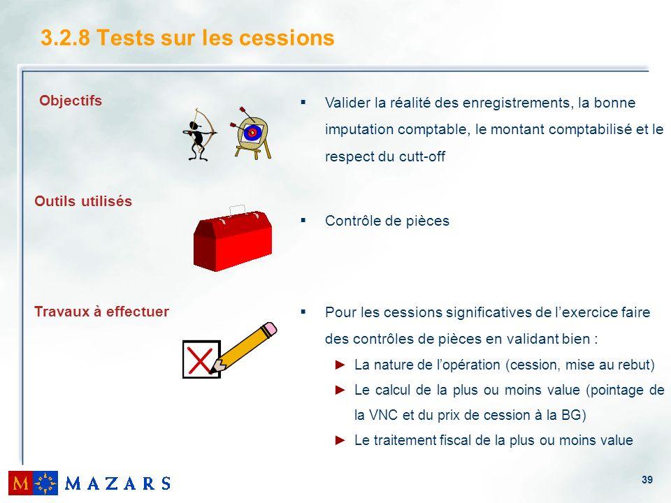 3.2.8 Tests sur les cessions Valider la réalité des enregistrements, la bonne imputation comptable, le montant comptabilisé et le respect du cutt-off.