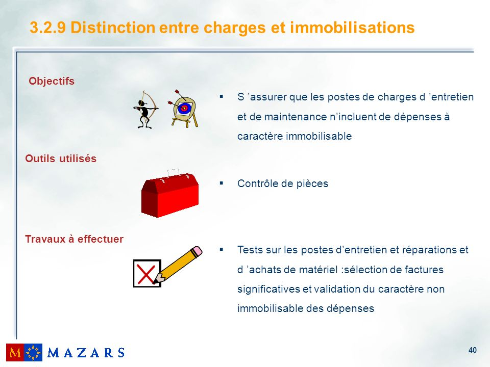 3.2.9 Distinction entre charges et immobilisations
