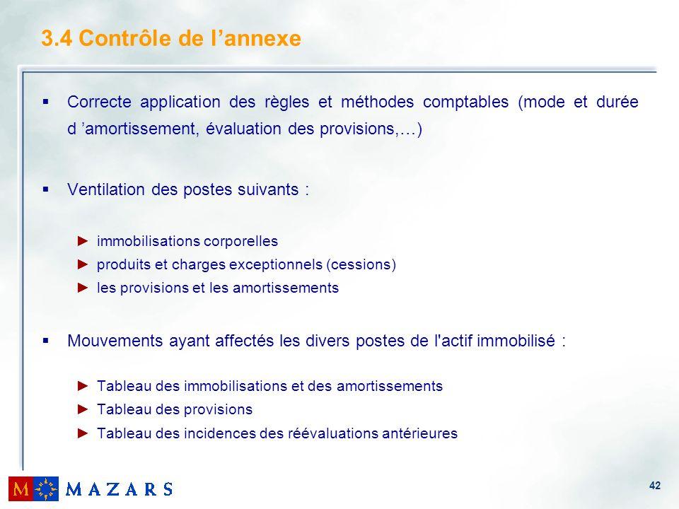 3.4 Contrôle de l'annexe Correcte application des règles et méthodes comptables (mode et durée d 'amortissement, évaluation des provisions,…)