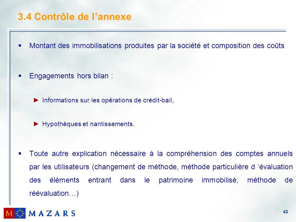 3.4 Contrôle de l'annexe Montant des immobilisations produites par la société et composition des coûts.